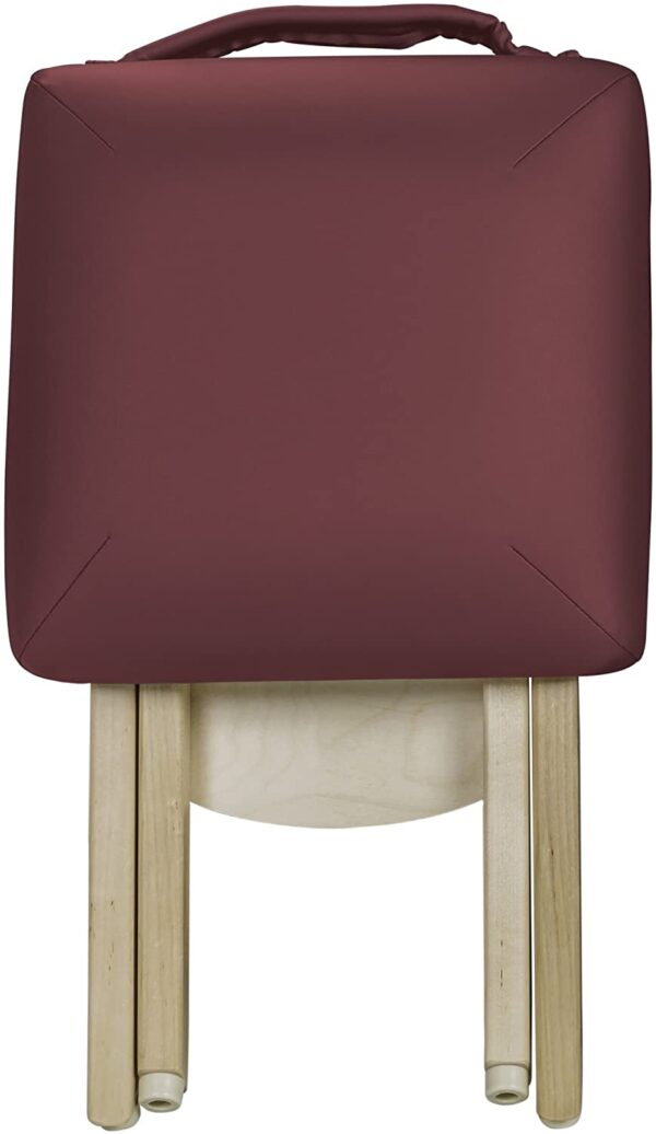 Earthlite folded stool burgundy front